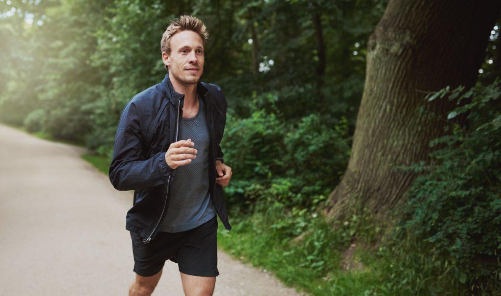 Man relieving stress through exercise
